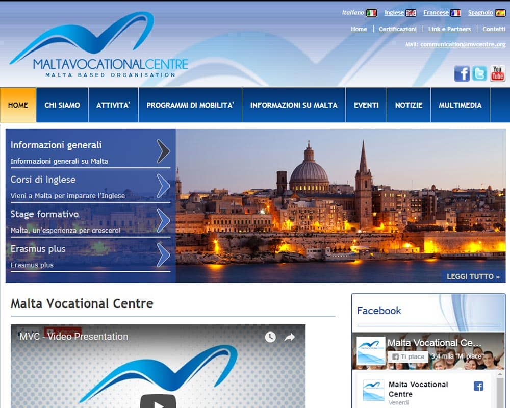 Malta Vocational Centre - Sito web