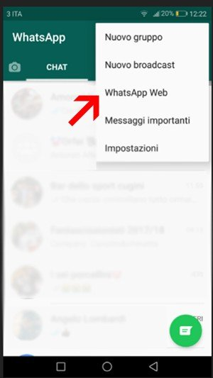 Screenshot dell'accesso a WhatsApp Web su Android