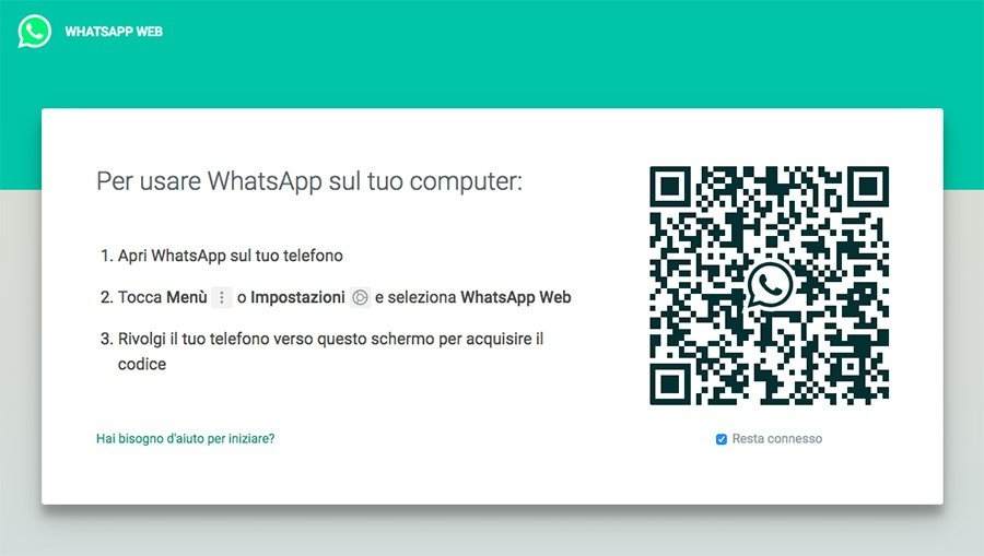 Screenshot del QR-Code su WhatsApp Web